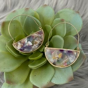 Beautiful Stained Glass Marbled Basket Earrings